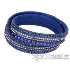 Купить кожаный браслет со стразами № 22 длиной 39-40 см