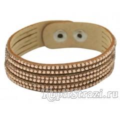 Браслет со стразами № 3. Кожаный браслет со стразами длиной 20-21 см.