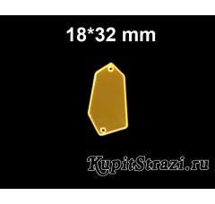 Форма P03 - 18*32 mm (золото) пришивные акриловые зеркала