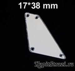 Форма P02 - 17*38 mm (серебро) пришивные акриловые зеркала (мягкие зеркала)