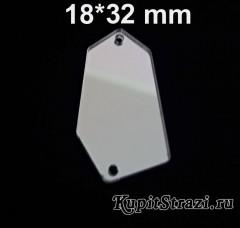 Форма P03 - 18*32 mm (серебро) пришивные акриловые зеркала
