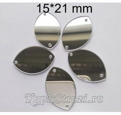 Форма P31 15*21 mm (серебро) пришивные акриловые зеркала (мягкие зеркала)