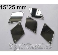 Форма P35 15*25 mm (серебро) пришивные акриловые зеркала (мягкие зеркала)