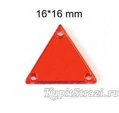 Форма P08 -16*16 mm (красные, siam) пришивные акриловые зеркала
