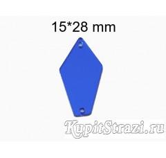 Купить синие (sapphire) пришивные акриловые зеркала (мягкие зеркала) формы P07 - 15*28 mm