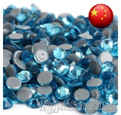 Стразы Aquamarine ss16 горячей фиксации - стеклянные китайские термо стразы премиум качества