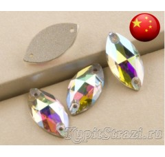 Лодочка Crystal AB (navette) - 12 мм - китайские пришивные стразы