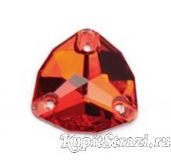 Триллиант Light siam (лайт сиам)- 16 мм - Пришивные стразы из Китая треугольной формы