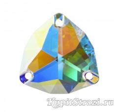 Пришивные китайские стразы треугольной формы Crystal AB - 22 мм