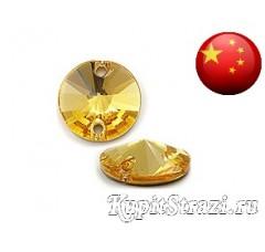 Пришивные стразы круглые Gold Shadow - 10 мм