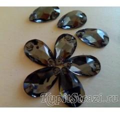 Пришивные стразы капля Black Diamond - 18 мм