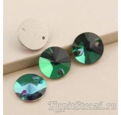 Круглые пришивные стразы Emerald - 12 мм