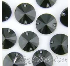 Круглые пришивные черные стразы Jet - 12 мм