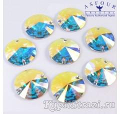 Круглые египетские пришивные стразы Asfour Crystal AB - 14 мм