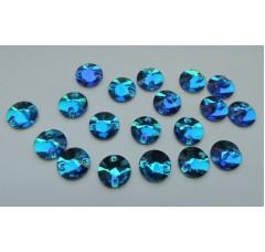 Круглые пришивные стразы Blue Zircon - 10 мм