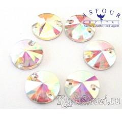 Круглые пришивные стразы Crystal AB - 18 мм