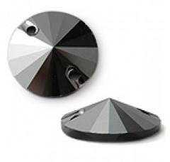 Круглые пришивные стразы Jet Hematite - 12 мм