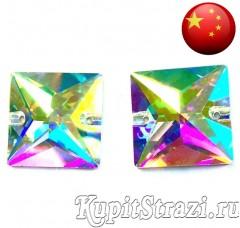 Пришивные стразы из Китая квадрат Crystal AB - 12 мм