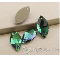 Пришивные стразы лодочка (navette) Emerald - 18 мм