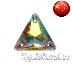 Треугольник Crystal AB - 12 мм - Пришивные стразы из Китая треугольной формы