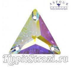 Треугольник Crystal AB - 18 мм - египетские пришивные стразы Asfour треугольной формы