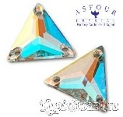 Пришивные китайские стразы треугольной формы Light siam (лайт сиам)) - 16 мм