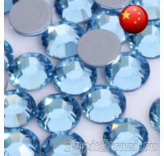 Стразы Aquamarine ss12 холодной фиксации - стеклянные китайские стразы премиум качества