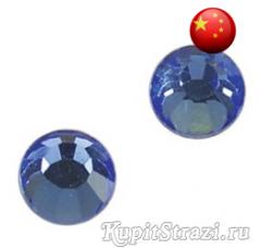 Стразы Light Sapphire ss12 холодной фиксации - стеклянные китайские стразы премиум качества