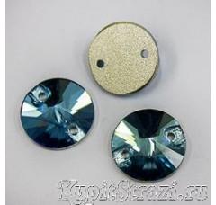Круглые пришивные стразы Blue Zircon - 12 мм