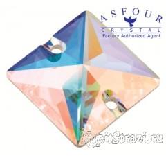 Пришивные стразы квадрат Crystal AB - 14 мм