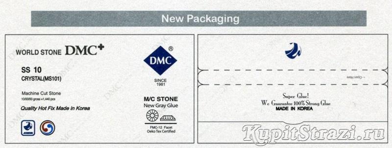 Оригинальная упаковка страз DMC корейского завода Джувонг. Расположение надписей и логотипа.